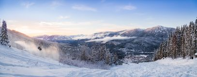 A sunset panorama of the Creekside at Whistler, BC. stock photo