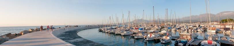 Sunset panorama of the harbor in Gordons Bay Stock Photo