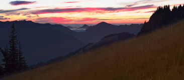 Sunset panorama from Hurricane Hill in Olympic National Park, Washington state. Orange, red and yellow colors in the sunset near Hurricane Ridge in Olympic royalty free stock photos