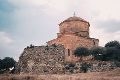 Sunset Panorama of Jvari Monastery Royalty Free Stock Images