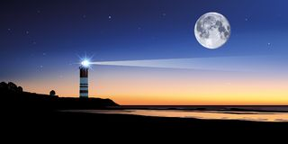 Panoramic landscape showing a lighthouse at dusk vector illustration
