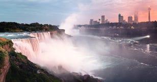 Sunset panorama of pink Niagara Falls stock images