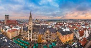 Sunset panorama of Munich, Germany royalty free stock photo