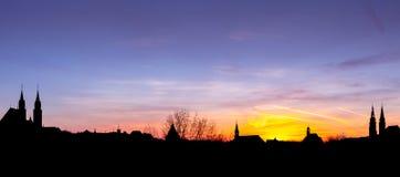 Sunset panorama Nuremberg, Germany royalty free stock photos
