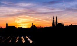 Sunset panorama Nuremberg, Germany Royalty Free Stock Image
