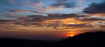 Sunset Panorama over the Forest stock photos