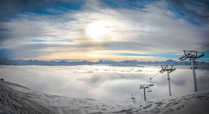 Sunset Panorama over the French Alps Royalty Free Stock Photos