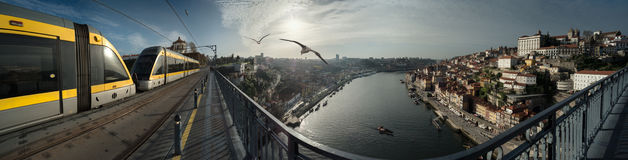 Sunset panorama of Porto, Gaia and the river Douro Stock Images