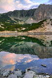 Sunset Panorama of Sinanitsa peak and lake, Pirin Mountain Stock Images