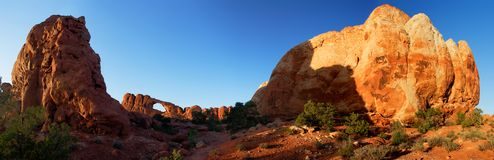 Sunset Panorama at Skyline Arch - Arches National Park, USA. Stock Photo