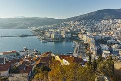Sunset Panorama to port of city of Kavala, Greece Stock Images