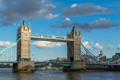 Sunset panorama of Tower Bridge in London in the late afternoon, England Royalty Free Stock Images