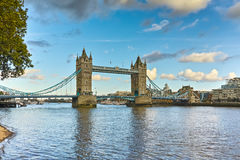Sunset panorama of Tower Bridge in London in the late afternoon, England Royalty Free Stock Photography