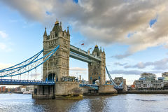 Sunset panorama of Tower Bridge in London in the late afternoon, England Stock Photos