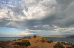 Sunset panorama on tropical Seraya Island Stock Image