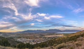 Sunset panorama of Utah Valley with large Sky stock photos