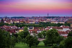 Sunset panorama view on Zizkov TV tower, Prague. Beautiful sunset panorama view on Zizkov TV tower, Prague, Czech Republic royalty free stock photos