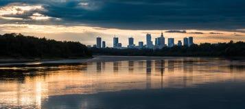 Night panorama of Warsaw. Sunset panorama of Warsaw from the Siekierkowski bridge, September 2017, Warsaw, Poland Royalty Free Stock Images