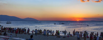Sunset Panorama White Beach, Puerto Galera Royalty Free Stock Photo