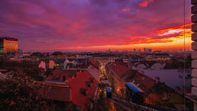 Sunset panorama of Zagreb city from The Strossmayer promenade, Z stock images