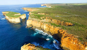 Sunset panoramic aerial view of Loch Ard Gorge and Island Arch,. Great Ocean Road - Australia Royalty Free Stock Image