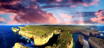 Sunset panoramic aerial view of Loch Ard Gorge and Island Arch,. Great Ocean Road - Australia Royalty Free Stock Images