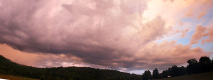 Sunset Panoramic. Beautiful sunset over the mountains of West Virginia, a huge panoramic autumn evening view royalty free stock image