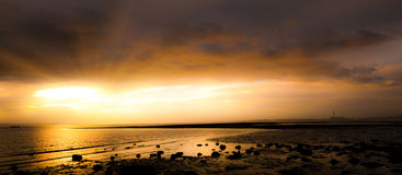 Sunset panoramic sea shore at Meon Beach Stock Image