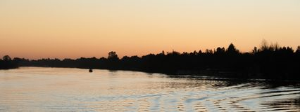 Sunset Panoramic on the Vaal River South Africa stock image