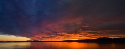 Sunset panoramic view Royalty Free Stock Photography