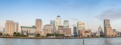 Sunset panoramic view of Canary Wharf buildings - London, UK.  Stock Photography