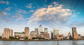 Sunset panoramic view of Canary Wharf buildings - London, UK Stock Image