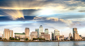 Sunset panoramic view of Canary Wharf buildings - London, UK Stock Photography
