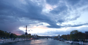 Sunset panoramic view of Eiffel Tower with Alexander the Third b Stock Image