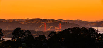 Sunset panoramic view of Golden Gate Bridge in San Francisco Cal Royalty Free Stock Photo