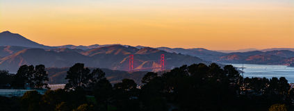 Sunset panoramic view of Golden Gate Bridge in San Francisco Cal Stock Images