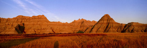 Sunset panoramic view of mountains in Badlands National Park in South Dakota Stock Photo