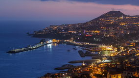 After sunset panoramic view to Funchal, Madeira. After sunset panoramic view to Funchal with atlantic ocean day to night transition, Madeira, Portugal timelapse stock video footage