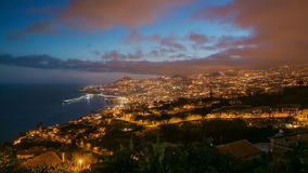 After sunset panoramic view to Funchal, Madeira. After sunset panoramic view to Funchal day to night transition, Madeira, Portugal timelapse stock footage
