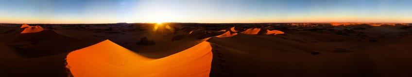 360 sunset panoramic view to Tin Merzouga dune at Tassili nAjjer national park in Algeria. 360 sunset panoramic view to Tin Merzouga dune at Tassili nAjjer Royalty Free Stock Images