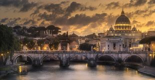 Sunset at The Papal Basilica of Saint Peter. In the Vatican city, Rome, Italy Royalty Free Stock Photos