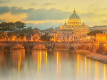 Sunset at The Papal Basilica of Saint Peter in the Vatican city Royalty Free Stock Photography