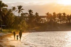 Sunset on paradise island stock images