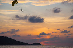Sunset paragliding Stock Images