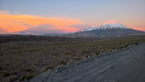 Sunset at Parinacota - Chile. Sunset at chilean plateau, close to Parinacota and Pomerape Stock Photo