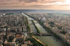 Sunset in Paris. View on evening Paris from Eiffel Tower Royalty Free Stock Image