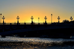 Sunset in Paris. On the bank of Siene Stock Photos