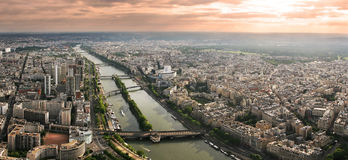 Sunset in Paris. Panoramic view on Paris from Eiffel Tower Royalty Free Stock Image