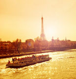 Sunset in Paris Stock Images