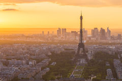 The sunset at Paris city with Eiffel Tower in France Stock Photos